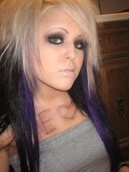 emo chick with purple hair!