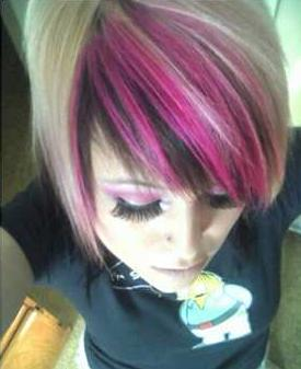 emo girl with pink highlights