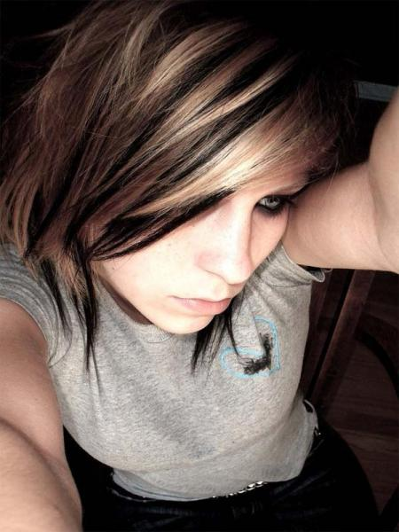 emo girl with grey shirt