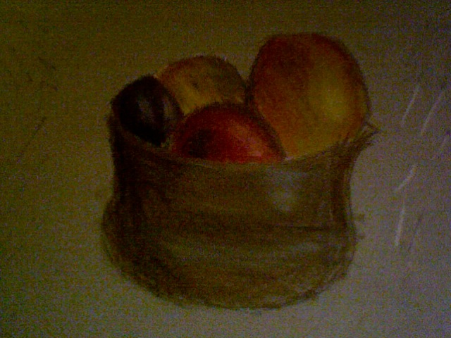 Bowl of Fruit Drawing